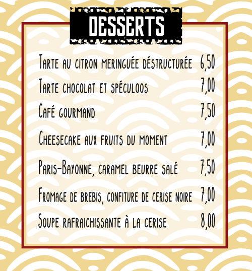 Desserts des Tontons Flingueurs | Bayonne