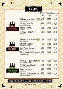 carte des vins restaurant bayonne bords de nive